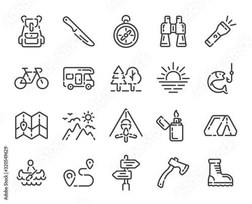 Fototapeta Set of camping trip or hiking outline icons. Line vector illustration. obraz na płótnie