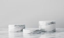 White Geometric Marble Podium ...