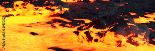 Photo lava field, magma flow landscape, molten rock close up
