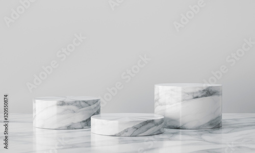 White geometric marble podium with bright background Fototapete