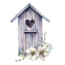 Watercolor Card With Bird House And Bouquet Of Anemones. Spring Illustration With Flowers And Willow Isolated On A White Background. Scene Of Wild Nature For Design, Print Or Fabric. Easter Template.