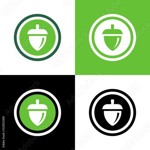 Photo Oak acorn logo design template elements, vector nut illustration