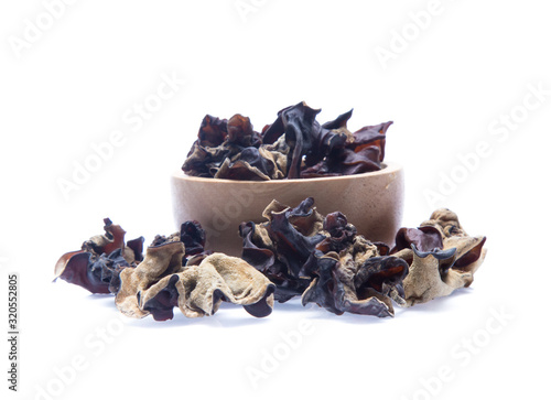 Dried chinese black fungus. Jelly ear  isolated Canvas Print