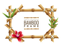 Bamboo Frames Background. Asian Nature Geometrical Frame With Place For Your Text Wooden Tropical Vector Mockup. Illustration Bamboo Frame With Rope