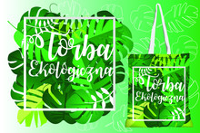 Reusable Bag Vector: Sheets Of Different Types As Background And A Frame To Focus The Title. Polish Title Translate: Ecological Bag.