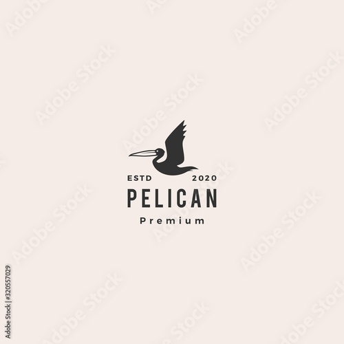 pelican gulf bird coast beach logo vector icon illustration hipster vintage retr Fototapeta