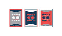 Set Of Baseball Card Design In Retro Style