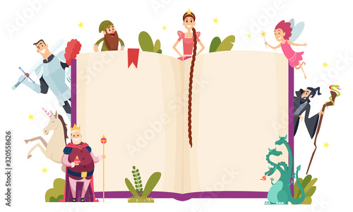 Fairy tale frame. Decorative background with fantasy characters book in cartoon style vector template. Fairy fantasy book for story, characters collection illustration
