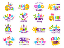 Creative Kids Logo. Craft And Painting Creativity Class For Children Identity Vector Emblems Collection. Children Logo Center, Class Label Collection Illustration