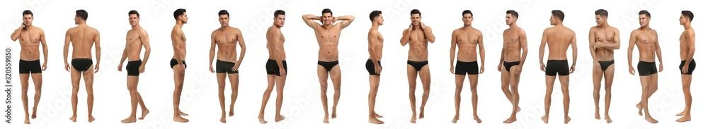 Fototapeta Collage of man in black underwear on white background. Banner design