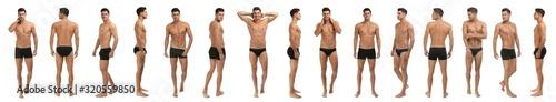 Fototapeta Collage of man in black underwear on white background. Banner design obraz