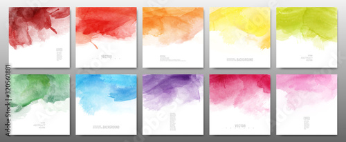 Obraz Set of bright colors watercolor - fototapety do salonu