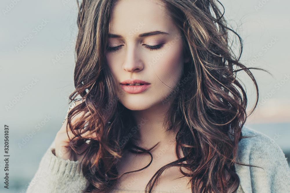 Fototapeta Perfect woman outdoors, close up portrait