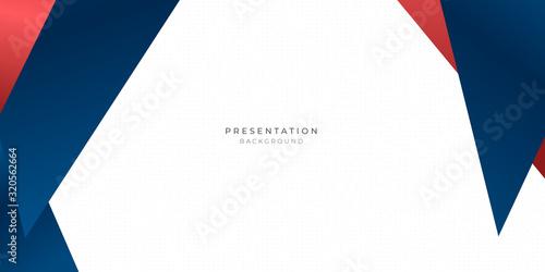 Obraz na plátně Red blue triangle abstract background for presentation design with dot pattern i