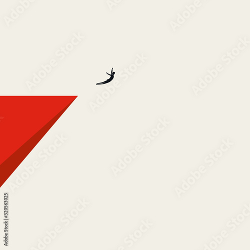 Fotografie, Obraz Business courage and bravery vector concept with businessman jumping off a cliff