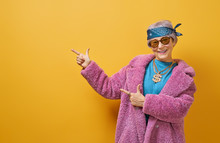 Senior Woman On Color Background