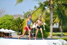 Kids Fun Jumping On Trampoline...
