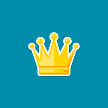 Crown Sticker Icon, Vector Isolated Flat Design Illustration On Blue Background