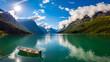 Leinwandbild Motiv lovatnet lake Beautiful Nature Norway.