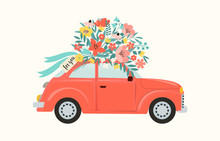 Red Retro Toy Car Delivering Bouquet Of Flowers Box On Pink Background. February 14 Card, Valentines Day. Flower Delivery. 8 March, International Happy Womens Day. Vector Illustration.