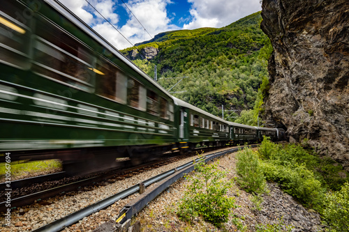 Obraz na plátně Flam Line is a long railway tourism line between Myrdal and Flam in Aurland, Norway
