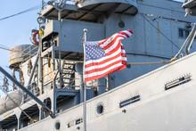 USA Flag On A Military Ship