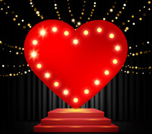 Shining Red Heart On Stage With Black Curtain. Vector Design For Valentines Day
