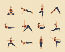 Set Of Yoga Asanas. Young Woma...