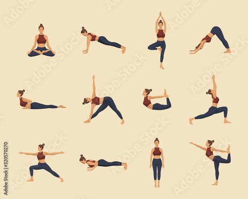 Set of yoga asanas Wallpaper Mural