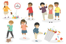 Naughty Kids Doing Bad Things And Bullying Others. Naughty Kids With Bad Behavior Vector Set.