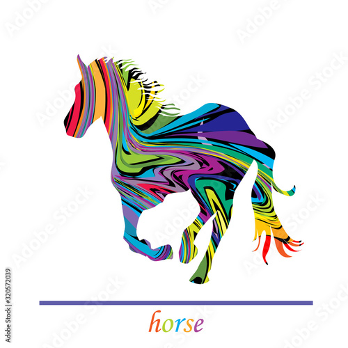 Cuadros en Lienzo Fantastic colored horse galloping over white background