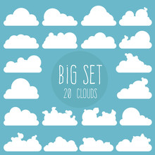 Large Cloud Set. 20 Design Ele...