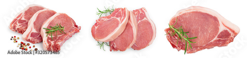 sliced raw pork meat isolated on white background. Top view. Flat lay. Set or collection - 320573465
