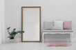 Leinwanddruck Bild - Modern large mirror and comfortable bench near light wall in room