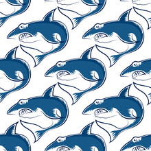 Shark Isolated On White Background. Fish Seamless Pattern.