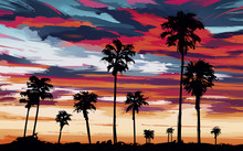 Evening On The Beach With Palm Trees. Beautiful Sunset Over The Beach With Palm Trees. Palm Trees Against The Background Of The Orange Sky. Vector Illustration In Picturesque Style