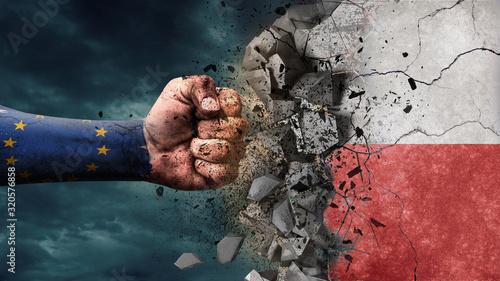 Fotografie, Obraz Fist breaking rock. EU destroying Poland