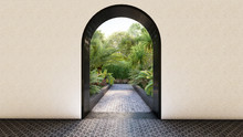 Solid Wall And Arch Entrance G...