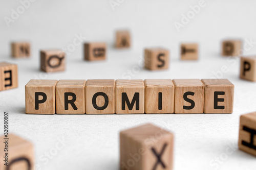 Fototapeta Promise - words from wooden blocks with letters, assurance swear promise concept