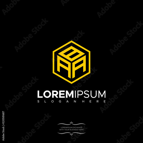 Foto Initial letter BAA Polygon, minimalist line art monogram hexagon logo, black col