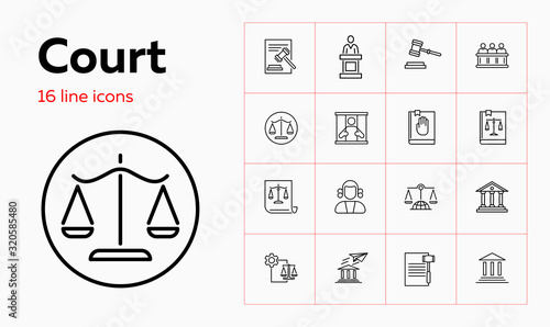 Photo Court line icon set