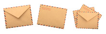 Brown Envelopes Isolated White Background