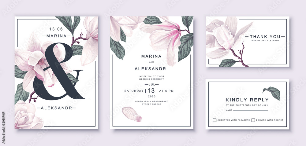 Fototapeta .Botanical wedding invitation card template design, white magnolia flowers and leaves. Template design with highly detailed, vector, realistic, spring flowers. Collection of Save the Date and RSVP.