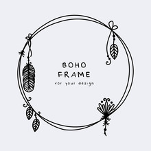 Beautiful Boho Frame With Hang...