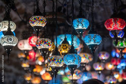 Photo colored lantern hanging at the Kotor in Montenegro