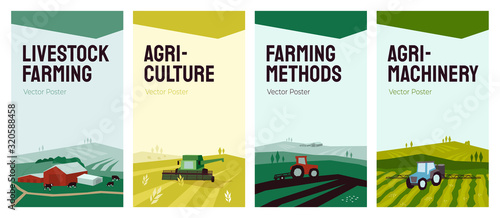 Fototapeta Set of banners with agriculture, livestock, farming concept. Vector illustrations of farm land, rural landscape, cows, tractor and combine harvester on field. Backgrounds for flyer, cover, poster, ad obraz