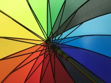 Rainbow Umbrella Carried With Pride
