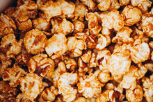 Top View Sweet Caramelized Candied Popcorn In A White Box