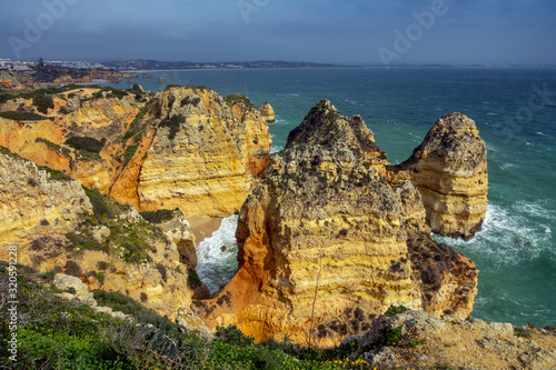 Vászonkép Rock cliffs and waves in Portugal