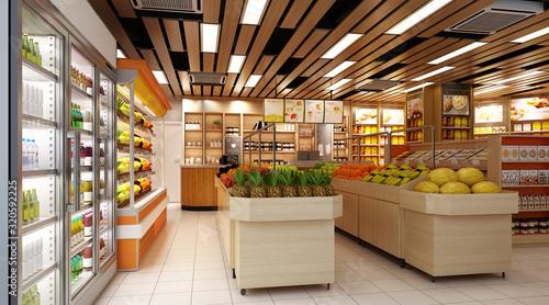Fotografía 3d render of supermarket grocery shop